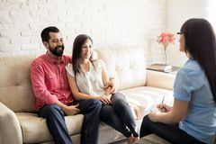 Young Hispanic couple during psychotherapy session Royalty Free Stock Images