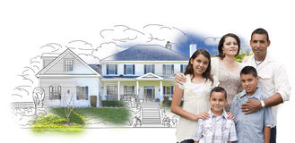 Young Hispanic Family Over House Drawing and Photo on White Royalty Free Stock Photo