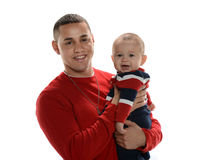 Young Hispanic Father and Son Stock Images