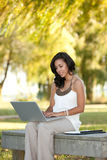 Young Hispanic Female Businesswoman Working Outdoo Royalty Free Stock Photos