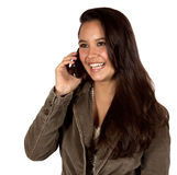 Young Hispanic Female On Telephone Royalty Free Stock Photos