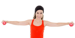 Young hispanic fitness woman exercising Stock Images