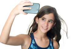 Young hispanic girl taking herself a portrait Stock Images