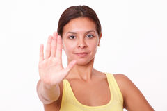 Young hispanic lady with stop gesture Royalty Free Stock Photos