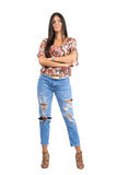 Young hispanic long straight hair beauty with crossed hands looking away. Royalty Free Stock Photography