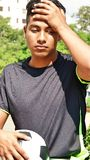 Young Hispanic Male Soccer Player Under Stress. A handsome hispanic male teenager Stock Images