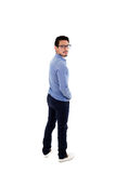 Young hispanic man with blue shirt and glasses Stock Photography