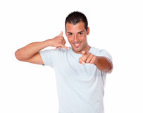 Young hispanic man with talk gesture Royalty Free Stock Photography