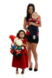 Young Hispanic Mother with son and daughter Royalty Free Stock Image