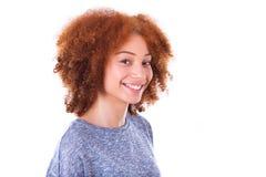 Young hispanic teenage girl isolated on white background Royalty Free Stock Photo