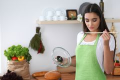 Young Hispanic woman in a green apron cooking in the kitchen while blowing at wooden spoon. Housewife found a new recipe. For her soup Royalty Free Stock Photos