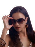 Young hispanic woman hand on sunglasses portrait Royalty Free Stock Photos