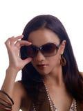 Young hispanic woman hand on sunglasses portrait Royalty Free Stock Photos