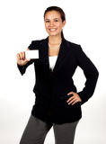 Young Hispanic Woman Holding A Blank Business Card Stock Photos