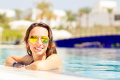 Young hispanic woman relaxing on summer vacations Royalty Free Stock Image