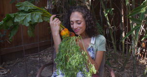 Young hispanic woman smelling and looking at vegetables Royalty Free Stock Photo