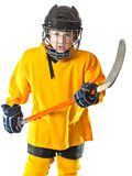 Young hockey player with angry face Stock Photo