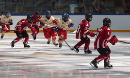 Young Hockey Players. At a hockey tournament Edmonton June 2014 Stock Image