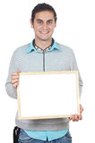 Young holding blank sign Royalty Free Stock Photos