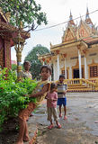 Young homeless children posing in temple Wat Krom in Sihonoukville, Cambodia Royalty Free Stock Photography