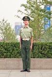 Young honor guard at Xidan area, Beijing, China stock images