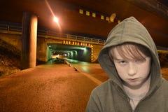 Young hooligan at night Royalty Free Stock Photos