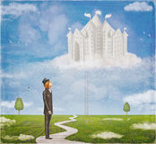 Young hopeful man look at the castle Royalty Free Stock Photography
