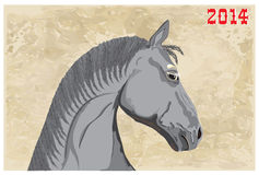 Young horse. Image a horse's head with the numbers 2014 Stock Images