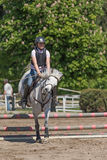 Young horsewoman with back protector is jumping Stock Photos