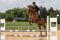 Young horsewoman is jumping over the hurdle Stock Photo