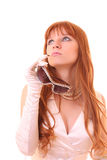 Young hot woman look up with sun glasses Royalty Free Stock Photo