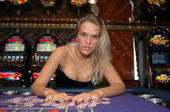 Young Hot Woman with Roulette Chips - Luck - Money Royalty Free Stock Photos