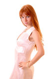 Young hot woman in white dress isolated Royalty Free Stock Photo