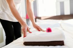 Young hotel maid placing flower on fresh towels Royalty Free Stock Image