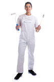 Young house painter and decorator apprentice trainee full body p Stock Image