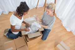 Young housemates unpacking boxes in new home Royalty Free Stock Image