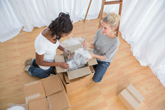 Young housemates unpacking in new home Royalty Free Stock Photography