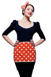 Young housewife. Young gorgeous housewife over white, retro styling Royalty Free Stock Photo