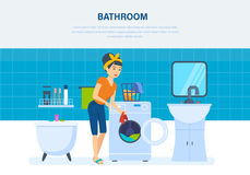 Young housewife in the bathroom, cleaned things and washed. Royalty Free Stock Photos