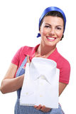 Young housewife cleaning. On white Stock Photos