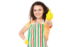Young housewife with cleaning gloves Royalty Free Stock Images
