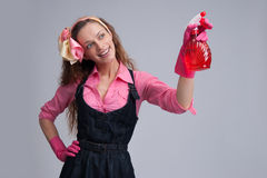 Young housewife cleaning Royalty Free Stock Image