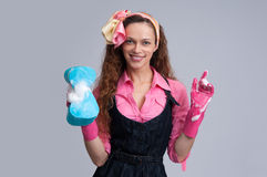 Young housewife cleaning Stock Image