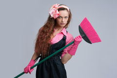 Young housewife cleaning Royalty Free Stock Photos
