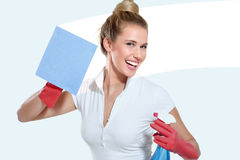 Young housewife cleaning on white Stock Images