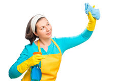 Young housewife cleans something Royalty Free Stock Image