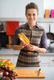 Young housewife with corn Royalty Free Stock Photos