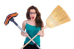 Young housewife doing housekeeping Royalty Free Stock Photo