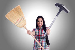 Young housewife doing housekeeping Royalty Free Stock Image