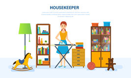 Young housewife engaged in household chores, cleaned, strokes things. Royalty Free Stock Images